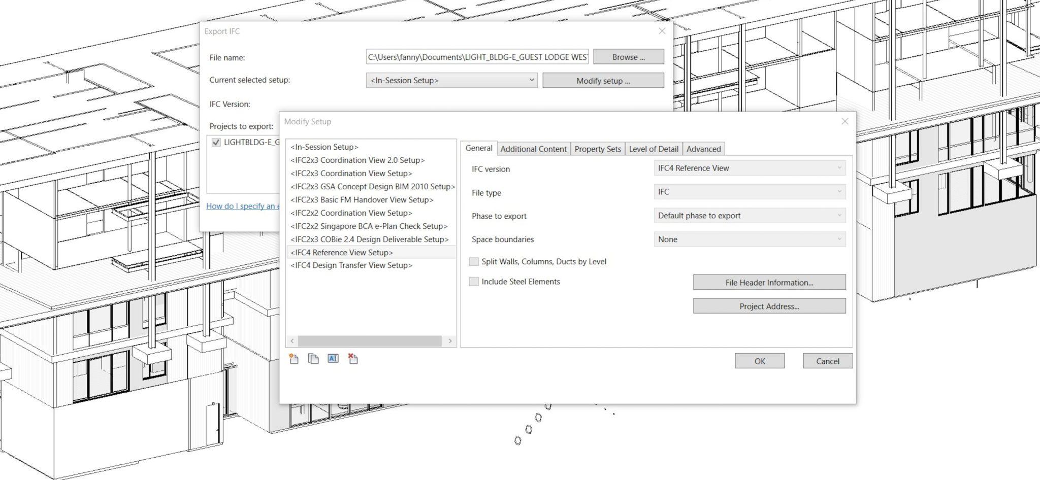 fenêtre d'export IFC dans le logiciel Revit avec le MVD reference view