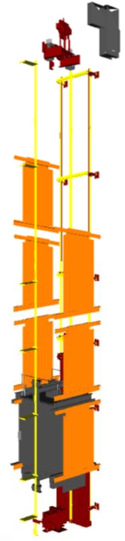 LoD 400 pour un ascenseur selon bim forum