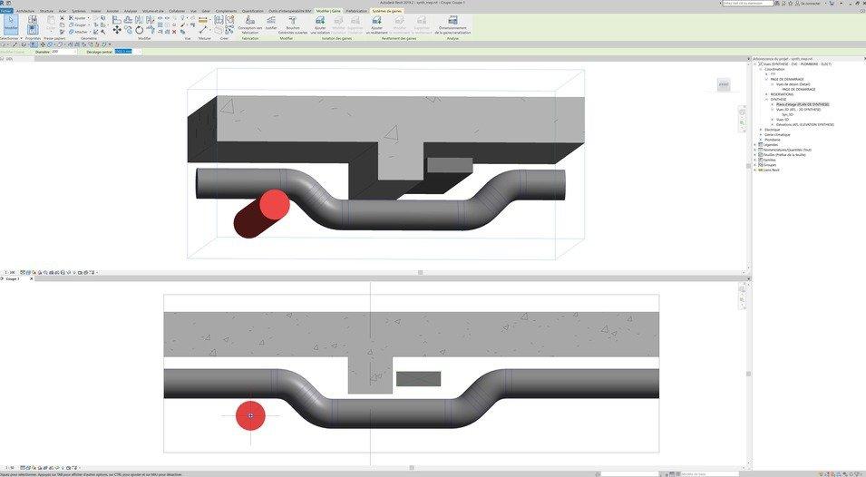 coupe et boite de coupe dans le logiciel BIM revit